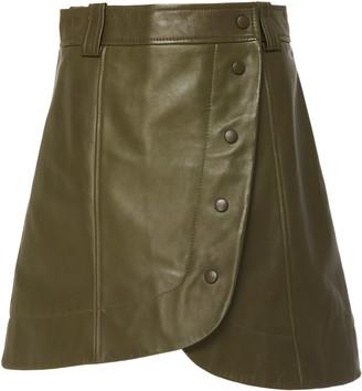 Ganni Asymmetric Leather Mini Skirt