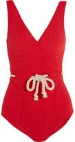 Lisa Marie Fernandez Yasmin Rope-detailed Seersucker Swimsuit - Red