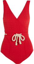 Lisa Marie Fernandez Yasmin Rope-detailed Stretch-cloqué Swimsuit - Red
