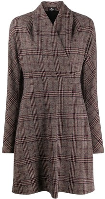 Etro Wrap-Style Plaid Dress