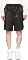 Giuliano Fujiwara Black Leather Basket Shorts