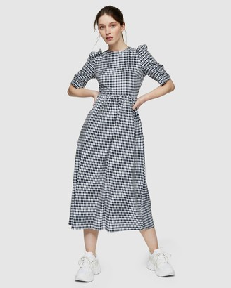 Topshop Gingham Cross Back Smock Midi Dress