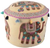 Cultural Ottoman Cream Cotton Elephant Patch Work Pouf Cover By Rajrang