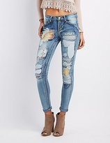 Charlotte Russe Destroyed Patchwork Skinny Jeans