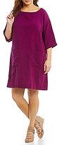 Eileen Fisher Plus Bateau Neck 3/4 Sleeve Dress