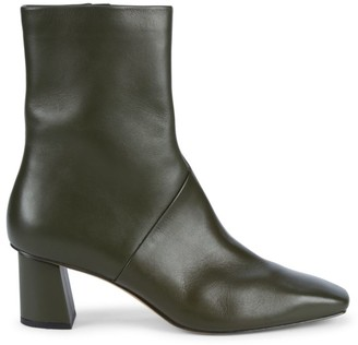 3.1 Phillip Lim Tess Square-Toe Leather Ankle Boots