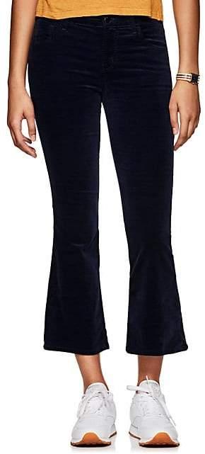 J Brand Women's Selena Velvet High-Rise Crop Flared Pants - Navy