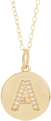 Silver Mama 14K Gold Plated Sterling Silver CZ Initial Disc Pendant Necklace