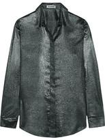 Jil Sander Silk-blend Lamé Shirt - Silver