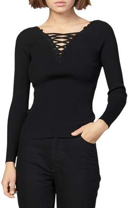 Sandro Lace-Up V-Neck Sweater