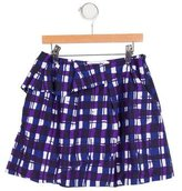 Christian Dior Girls' Plaid Print A-Line Skirt