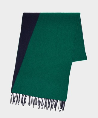 Drakes Geometric Jacquard Scarf in Green