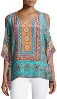 Tolani Serena Cold-Shoulder Printed Silk Top, Sky, Plus Size