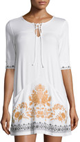 philosophy Lace-Up Embroidered Tunic, White