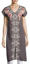 Johnny Was Christine Front-Slit Linen Dress, Gray, Plus Size