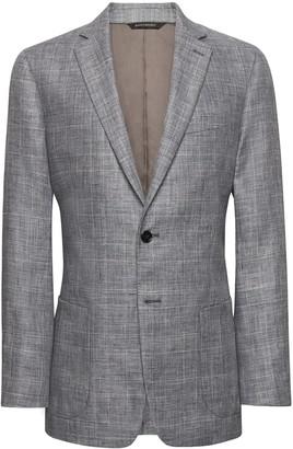 Banana Republic Slim Gray Plaid Linen Suit Jacket