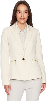 Kasper Women's Petite 1 Btn JKT with Zipper Pockets