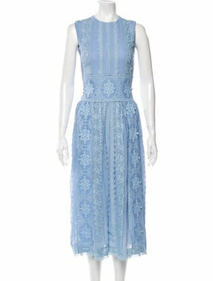 Costarellos Lace Pattern Midi Length Dress Blue