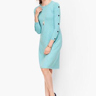 Talbots Tweed Button Sleeve Sweater Dress