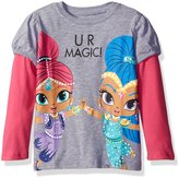Nickelodeon Little Girls' Toddler Shimmer and Shine U Wish L/s 2-Fer T-Shirt