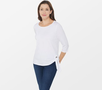 Belle By Kim Gravel Belle by Kim Gravel TripleLuxe Knit 3/4-Sleeve Grommet T-Shirt