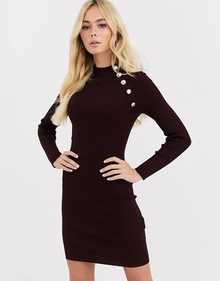 Morgan knitted bodycon dress with button detail in berry-Red