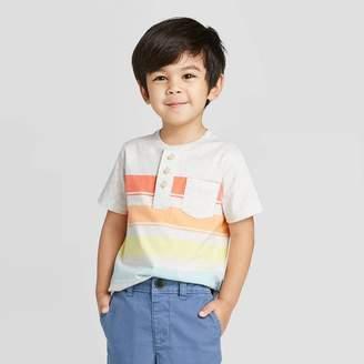 Osh Kosh Toddler Boys' Short Sleeve Rainbow Stripe Henley Knit T-Shirt -