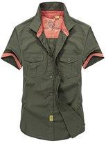 RubySports Men Clothing Rubysports Mens Casual Two Pocket Work Shirts Military Short Sleeve ArGr 5XL