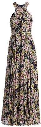 ML Monique Lhuillier Floral Georgette Pleated Maxi Dress