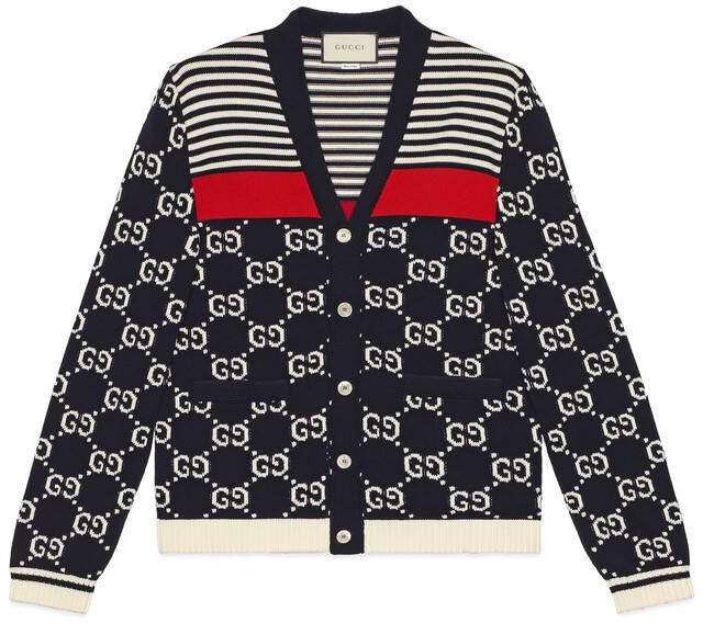 Gucci GG and stripes knit cardigan