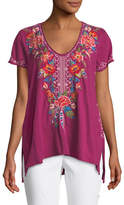 Johnny Was Samira Short-Sleeve Draped Top, Plus Size