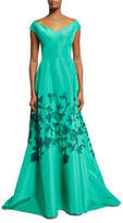 Lela Rose Embroidered Laser-Cut Cap-Sleeve Gown, Light Green