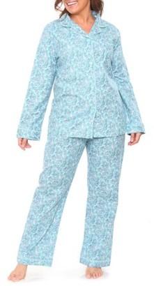White Mark Women's Flannel Pajama Set - Extended Sizes