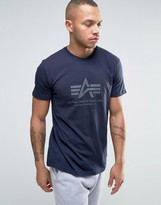 Alpha Industries Logo T-shirt Regular Fit In Navy