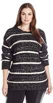 Calvin Klein Women's Plus Size Eyelash Stripe Swter