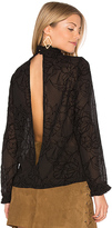 MinkPink Shadows Flocked Blouse in Black. - size XS (also in )