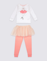 Marks and Spencer Cotton with Stretch Ballerina Pyjamas (9 Mths-8 Yrs)