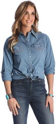 Wrangler Womens Long Sleeve Western Snap Work Shirt Chambray XS