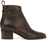 Valentino Embossed Leather Ankle Boots - Dark brown