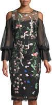 Jax Floral-Embroidered Cold-Shoulder Illusion Dress
