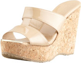Jimmy Choo Porter Patent Leather Wedge Sandal, Nude