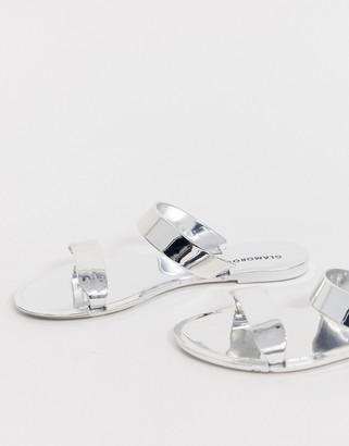 Glamorous silver mirror two strap flat sandal