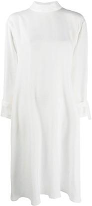Jejia Strapped-Cuff Mock-Neck Midi Dress