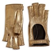 Gucci Donna Metallic Leather Fingerless Gloves