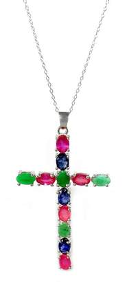 Savvy Cie Sterling Silver Ruby, Emerald, & Sapphire Cross Pendant Necklace