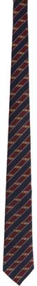 Gucci Navy and Red Silk Interlocking G Horsebit Tie