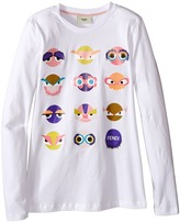 Fendi Long Sleeve T-Shirt w/ Monster Faces Graphic (Big Kids)