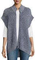 Pure Handknit Katherine Cap-Sleeve Zip Sweater, Denim