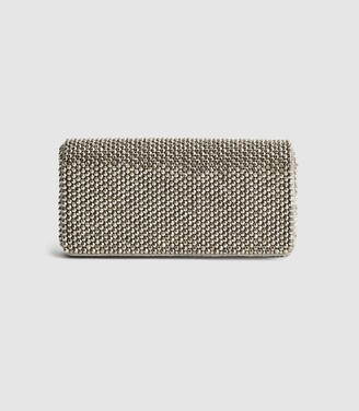 Reiss Zoey - Embellished Clutch Bag in Silver