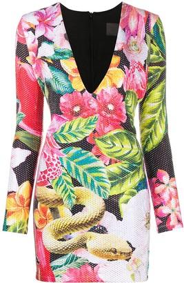 Philipp Plein Rhinestone Embellished Floral Print Dress
